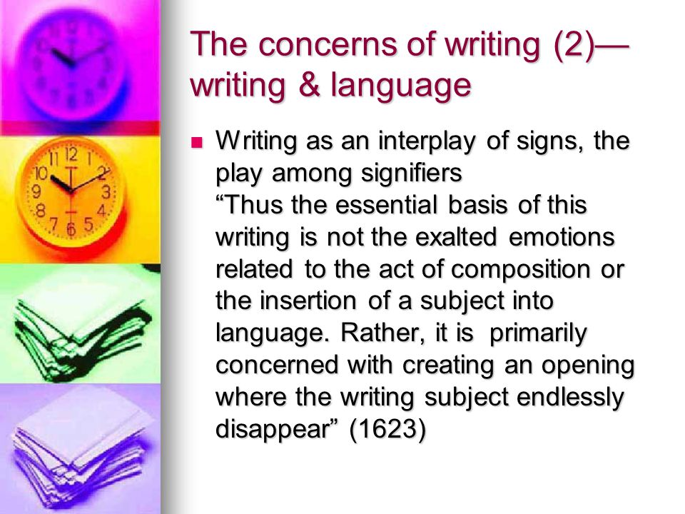 The concerns of writing (2)—writing & language