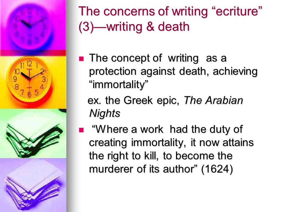The concerns of writing ecriture (3)—writing & death
