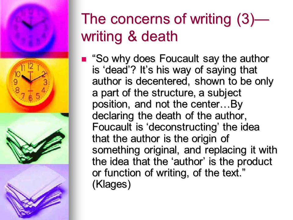 The concerns of writing (3)—writing & death