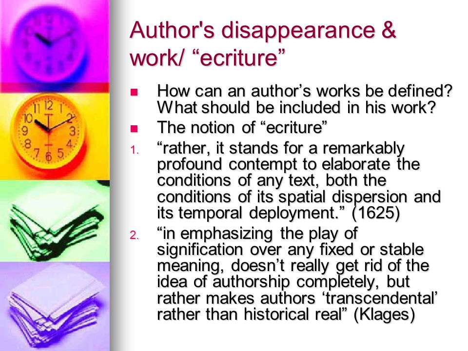 Author s disappearance & work/ ecriture