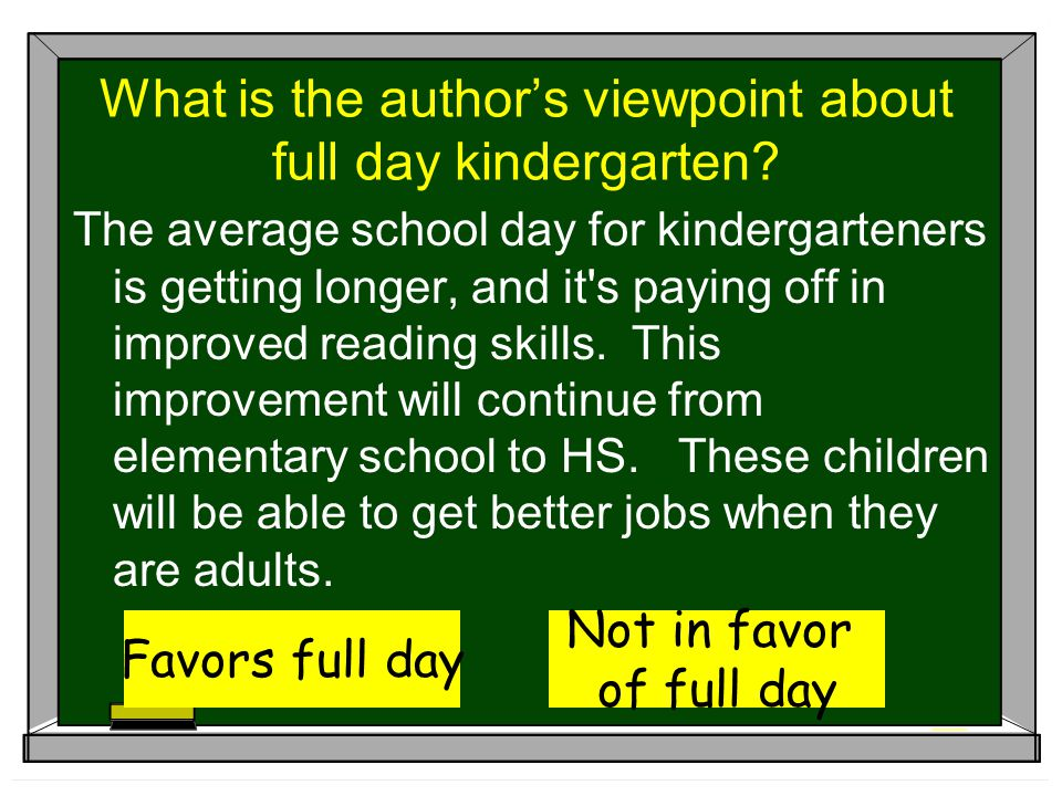 What is the author's viewpoint about full day kindergarten