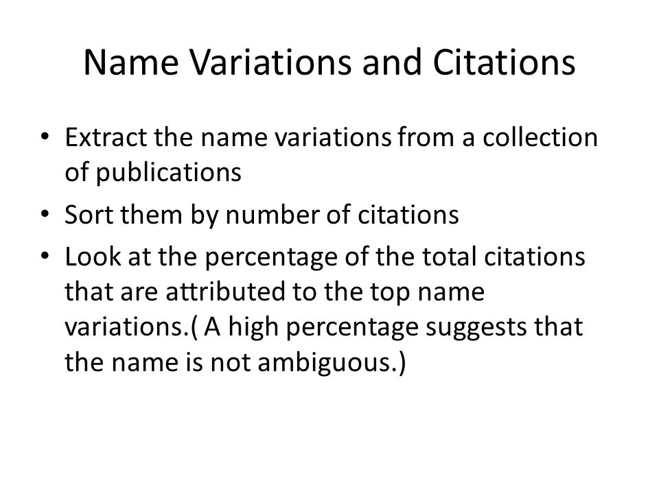 Name Variations and Citations