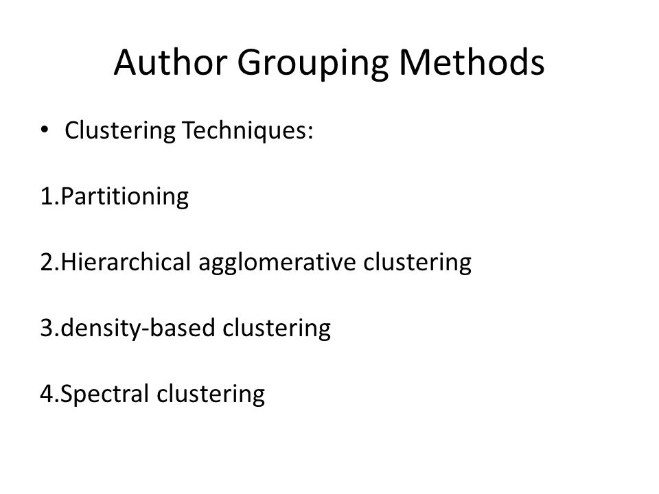 Author Grouping Methods