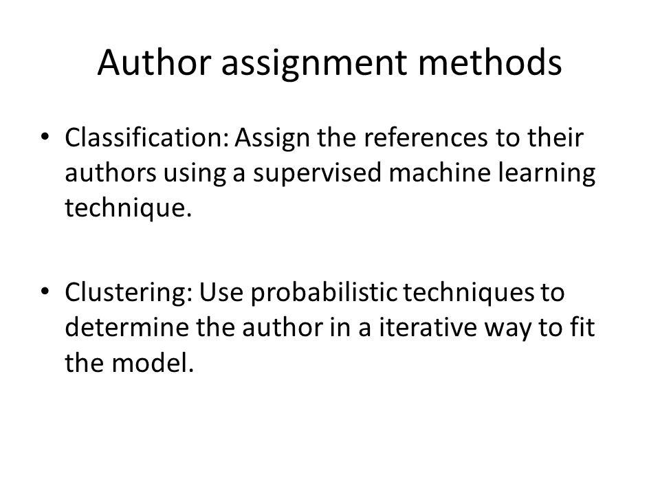 Author assignment methods