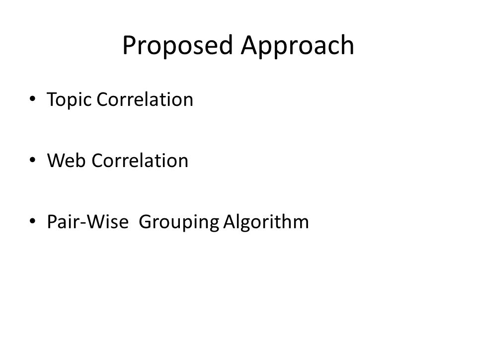 Proposed Approach Topic Correlation Web Correlation