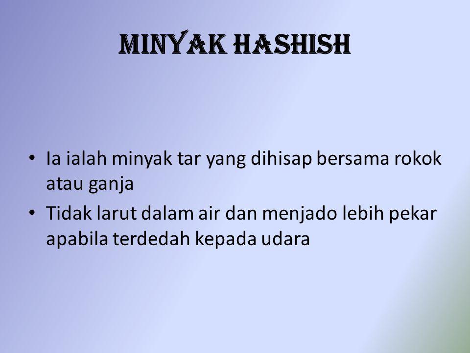 Minyak Hashish Ia ialah minyak tar yang dihisap bersama rokok atau ganja.