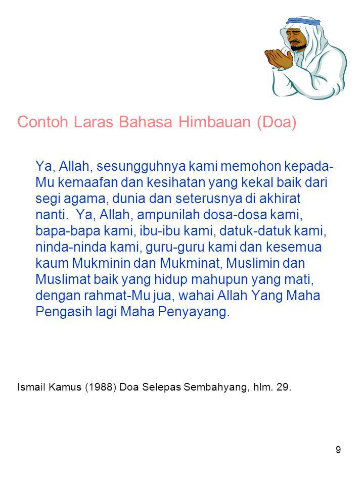 Contoh Laras Bahasa Himbauan (Doa)