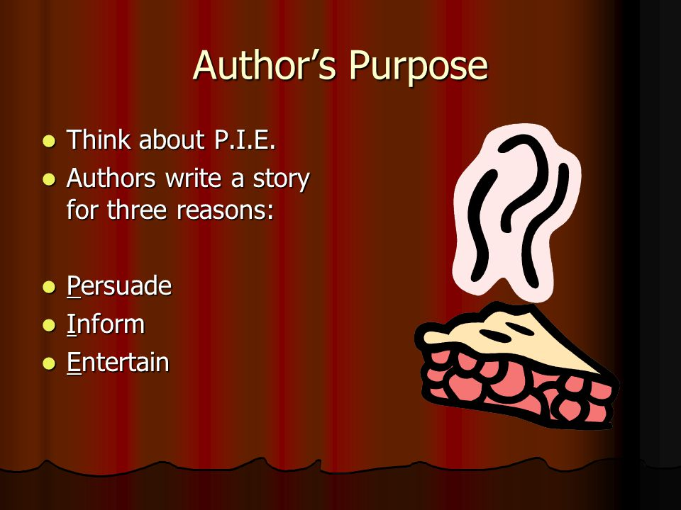 Author's Purpose Think about P.I.E.