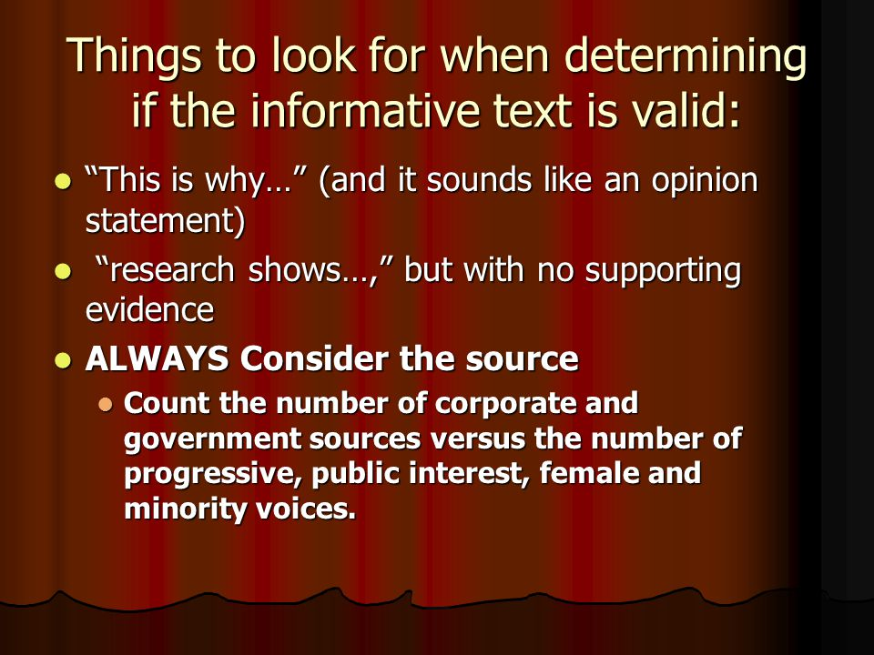 Things to look for when determining if the informative text is valid: