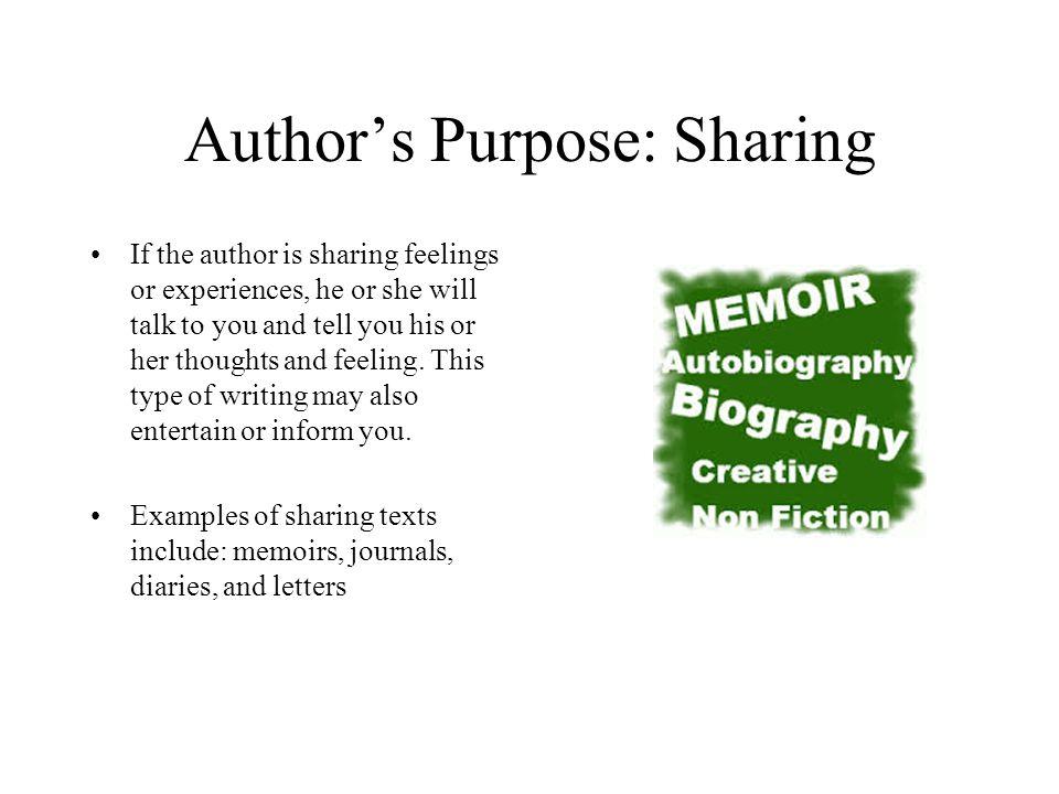 Author's Purpose: Sharing