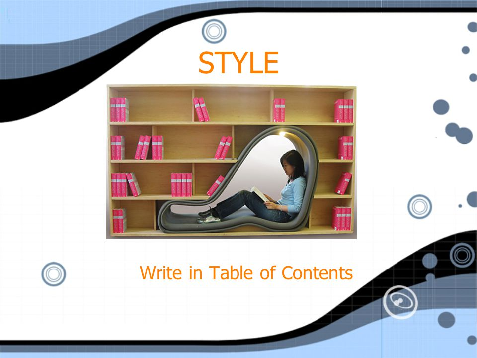 Write in Table of Contents