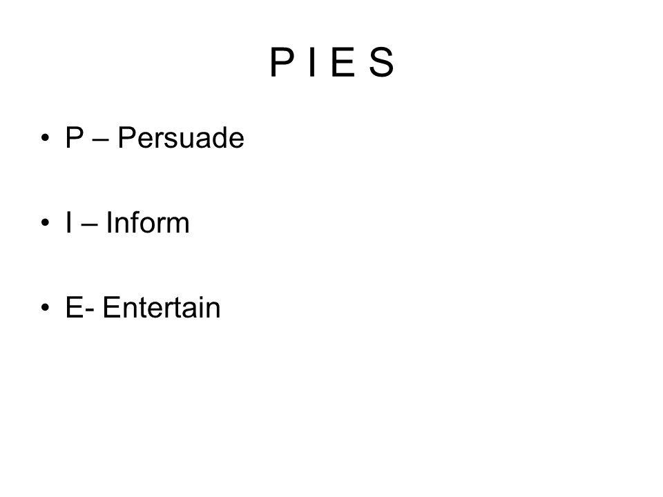 P I E S P – Persuade I – Inform E- Entertain