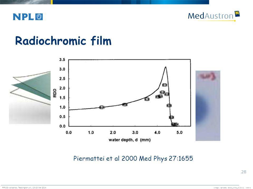 Radiochromic film Piermattei et al 2000 Med Phys 27:1655