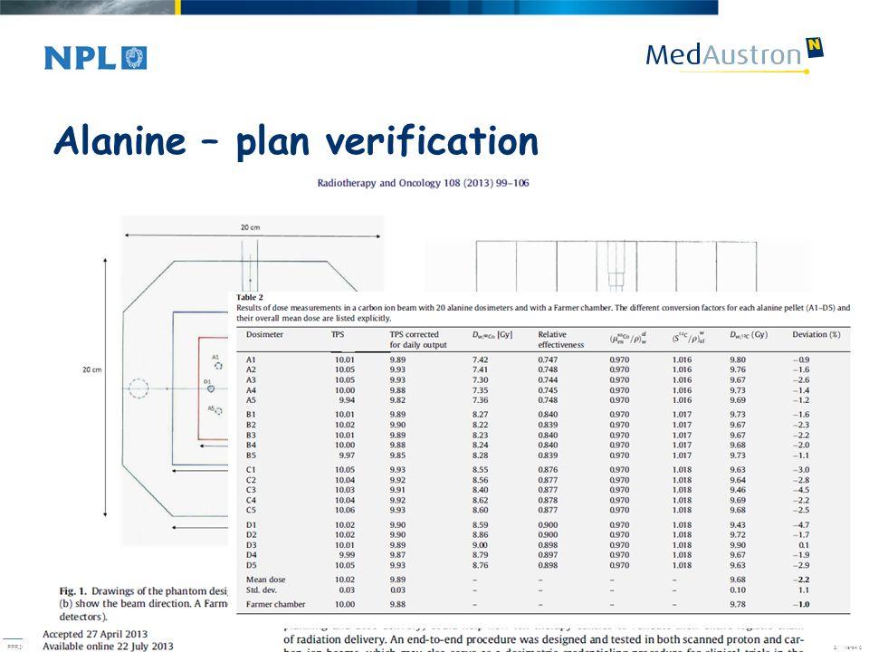 Alanine – plan verification