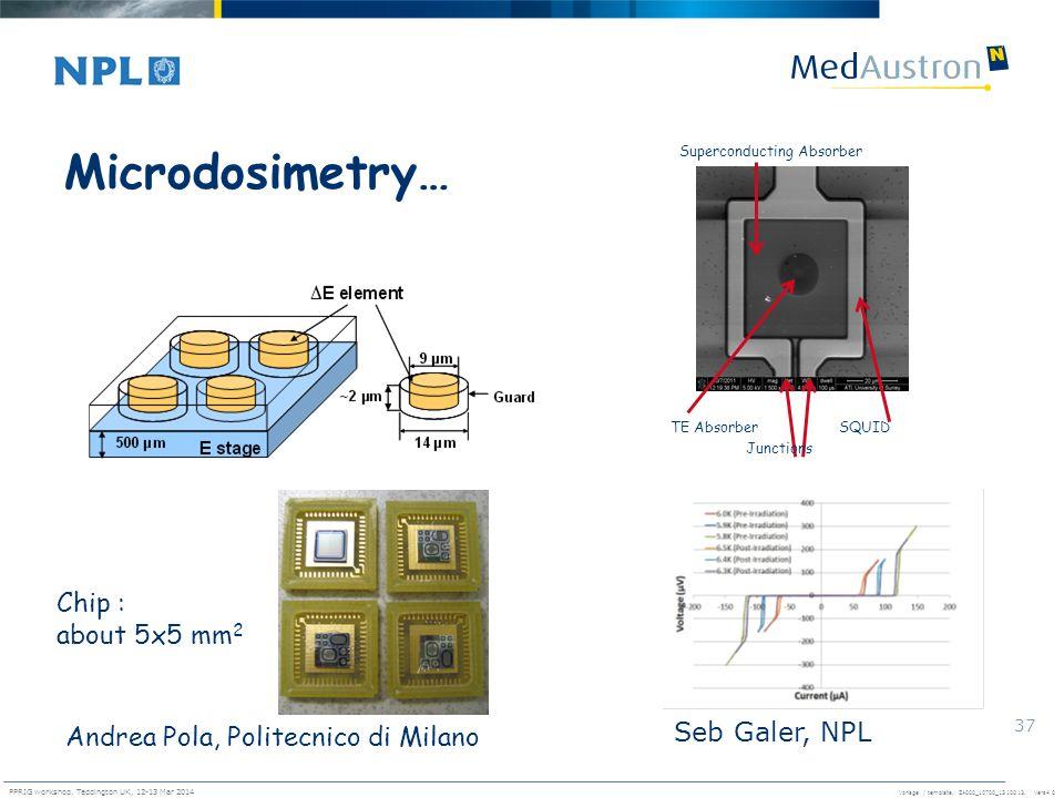 Microdosimetry… Chip : about 5x5 mm2 Seb Galer, NPL