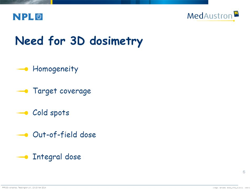 Need for 3D dosimetry Homogeneity Target coverage Cold spots