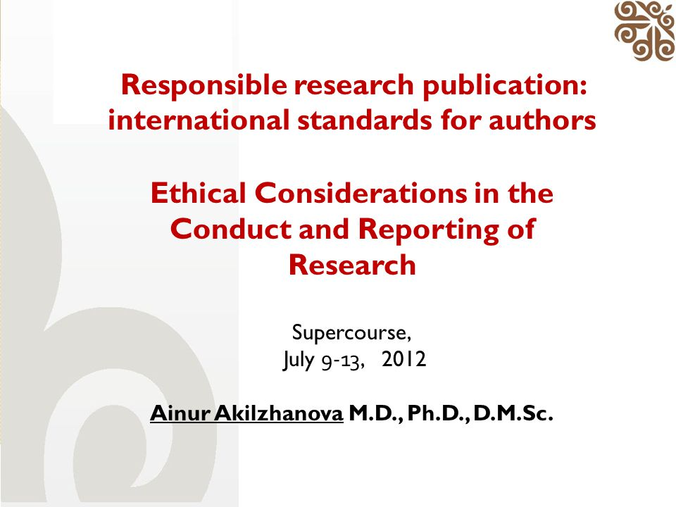 Responsible research publication: international standards for authors