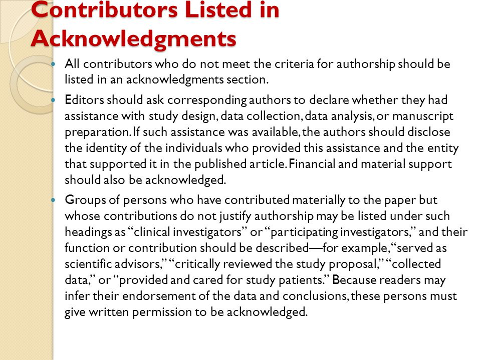 Contributors Listed in Acknowledgments