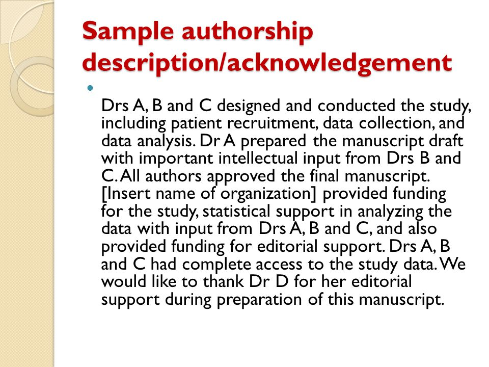 Sample authorship description/acknowledgement
