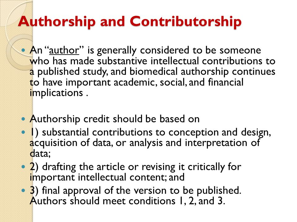 Authorship and Contributorship