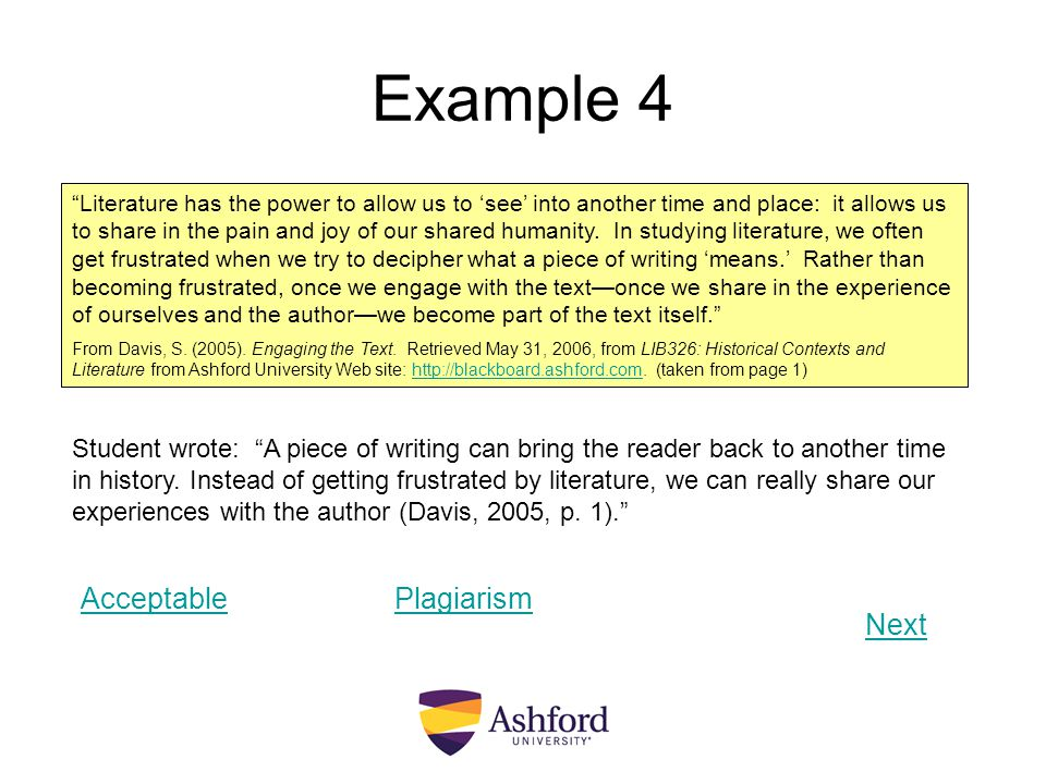 Example 4 Acceptable Plagiarism Next