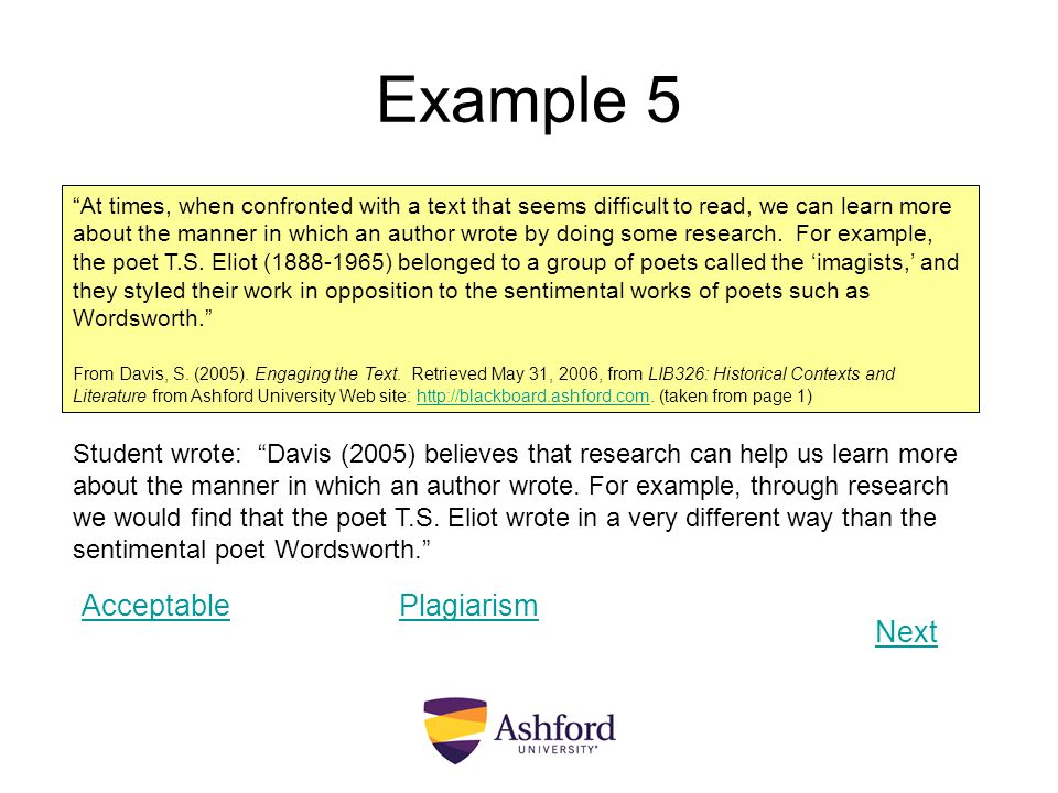 Example 5 Acceptable Plagiarism Next