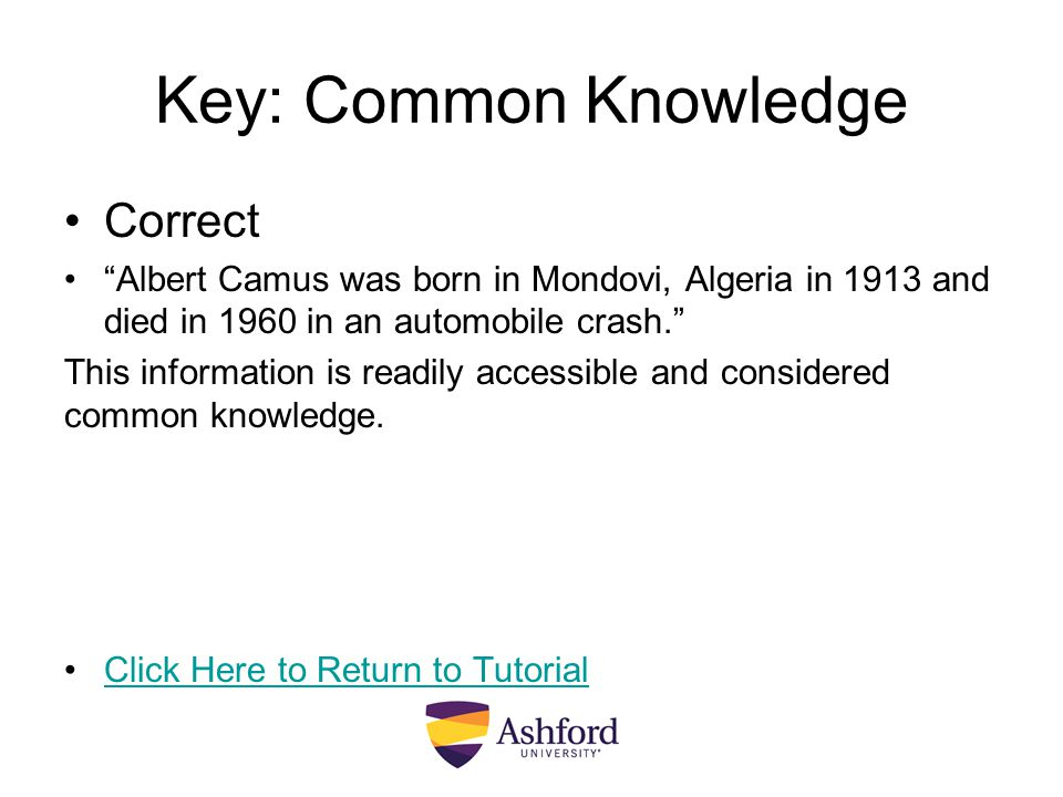 Key: Common Knowledge Correct
