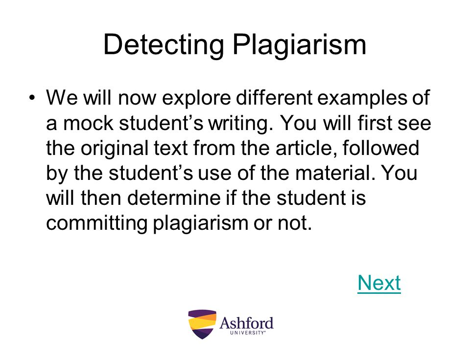 Detecting Plagiarism