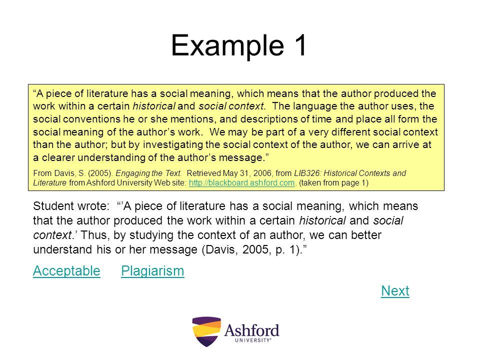 Example 1 Acceptable Plagiarism Next