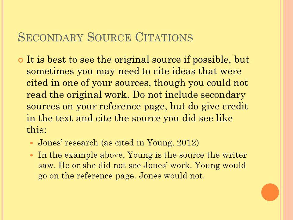 Secondary Source Citations