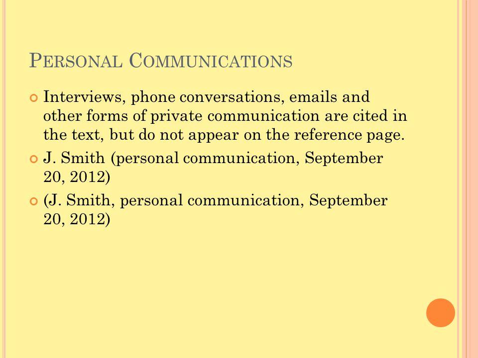 Personal Communications