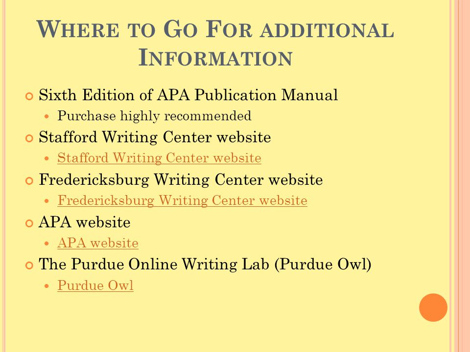 Where to Go For additional Information