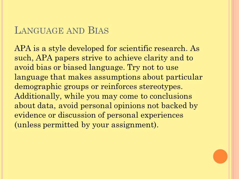 Language and Bias