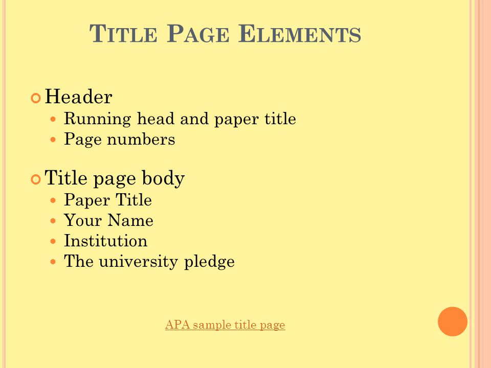 Title Page Elements Header Title page body