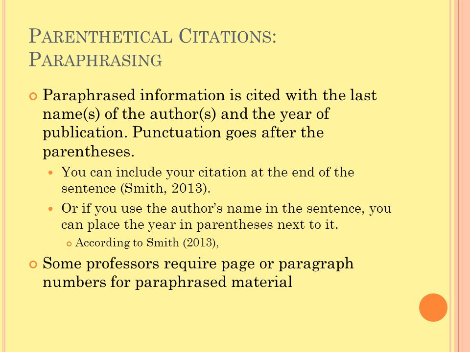 Parenthetical Citations: Paraphrasing