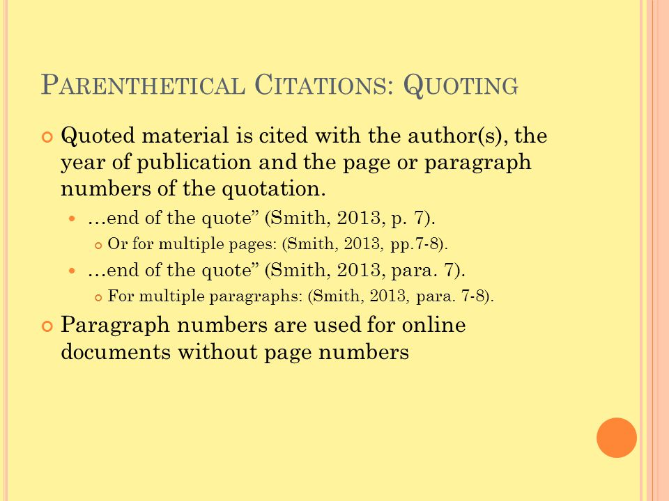 Parenthetical Citations: Quoting