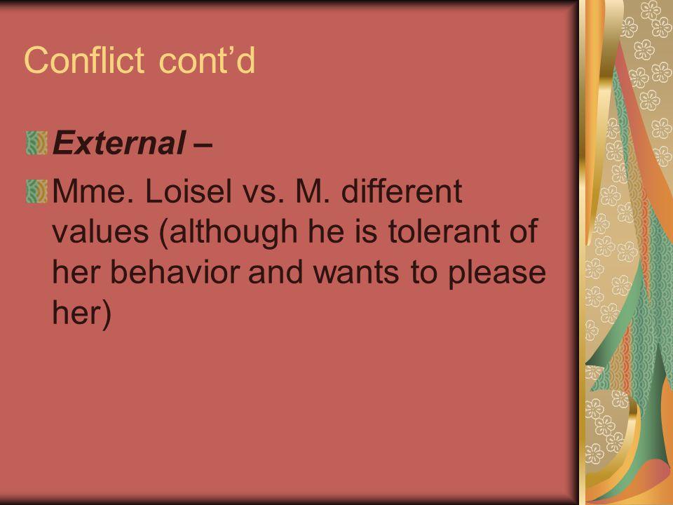 Conflict cont'd External –