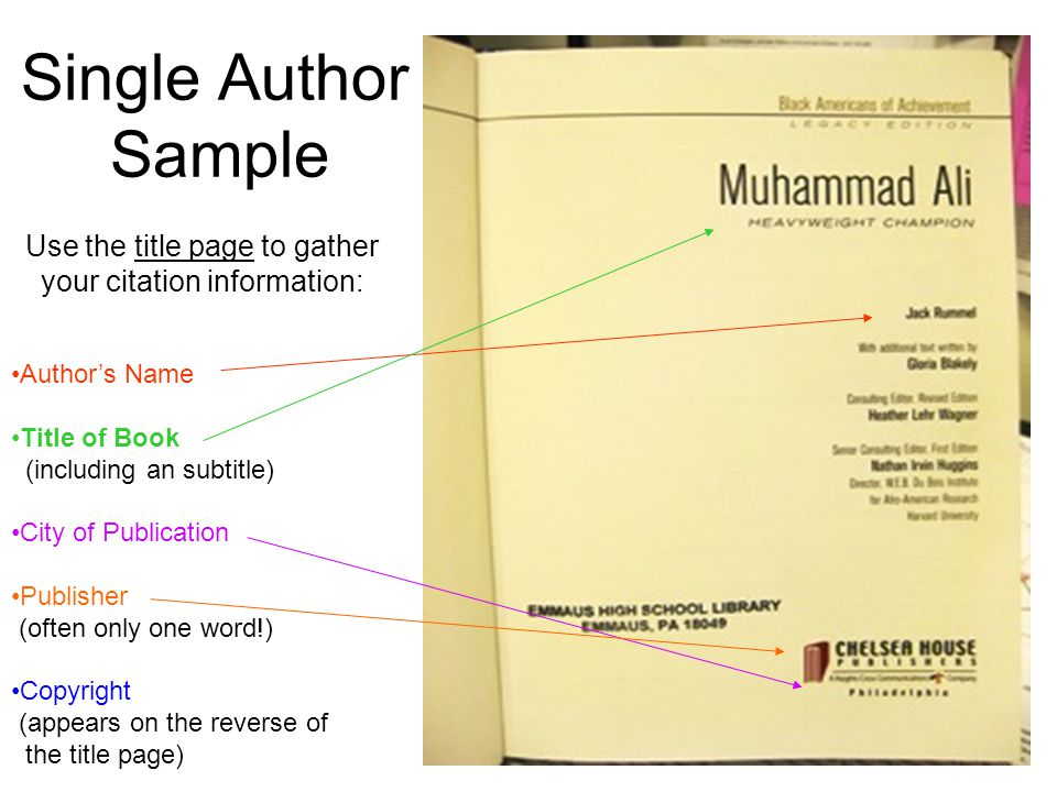 Single Author Sample Use the title page to gather your citation information: