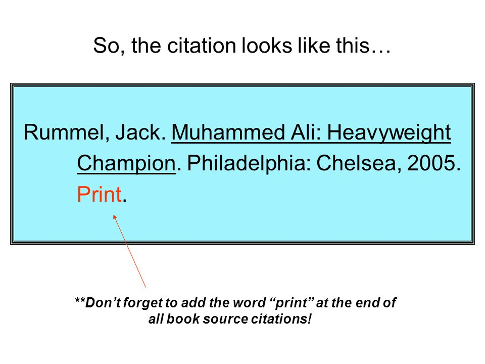 So, the citation looks like this…
