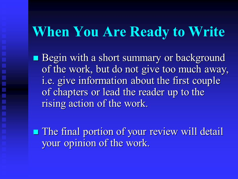 When You Are Ready to Write