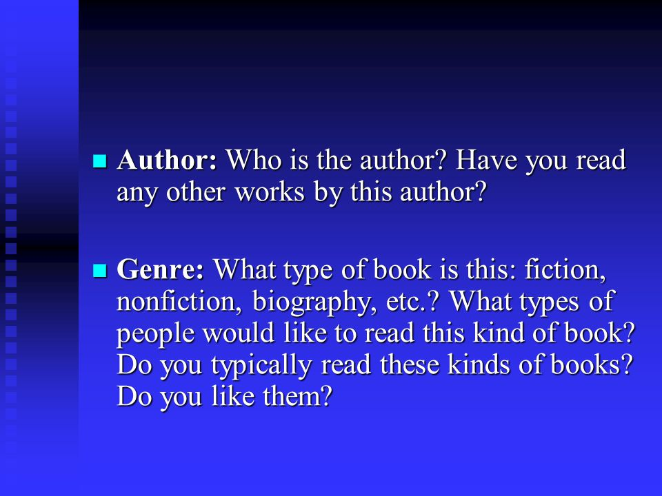 Author: Who is the author Have you read any other works by this author
