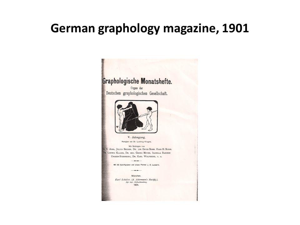 German graphology magazine, 1901