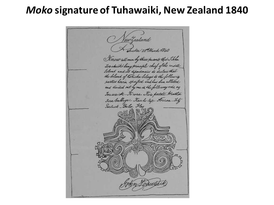 Moko signature of Tuhawaiki, New Zealand 1840