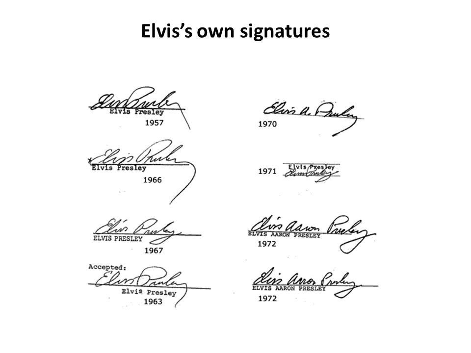 Elvis's own signatures