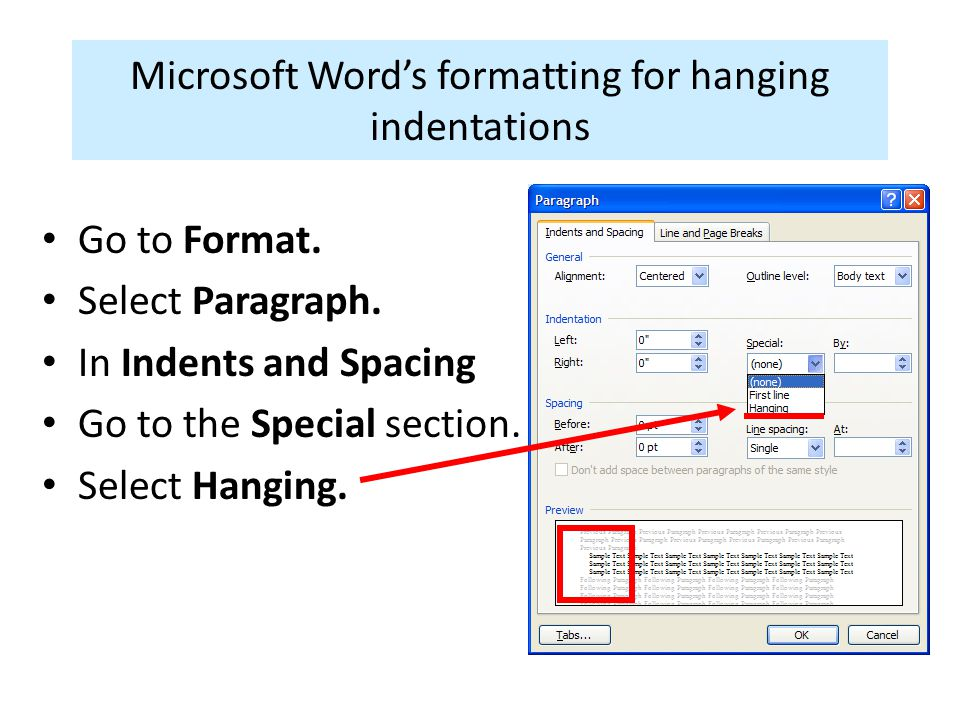 Microsoft Word's formatting for hanging indentations