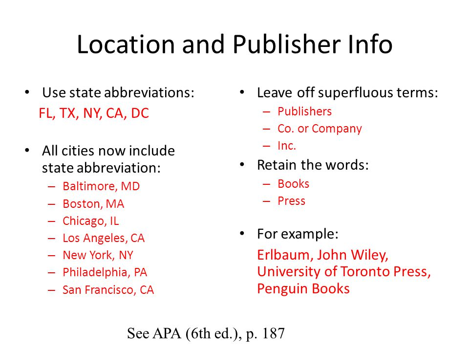 Location and Publisher Info