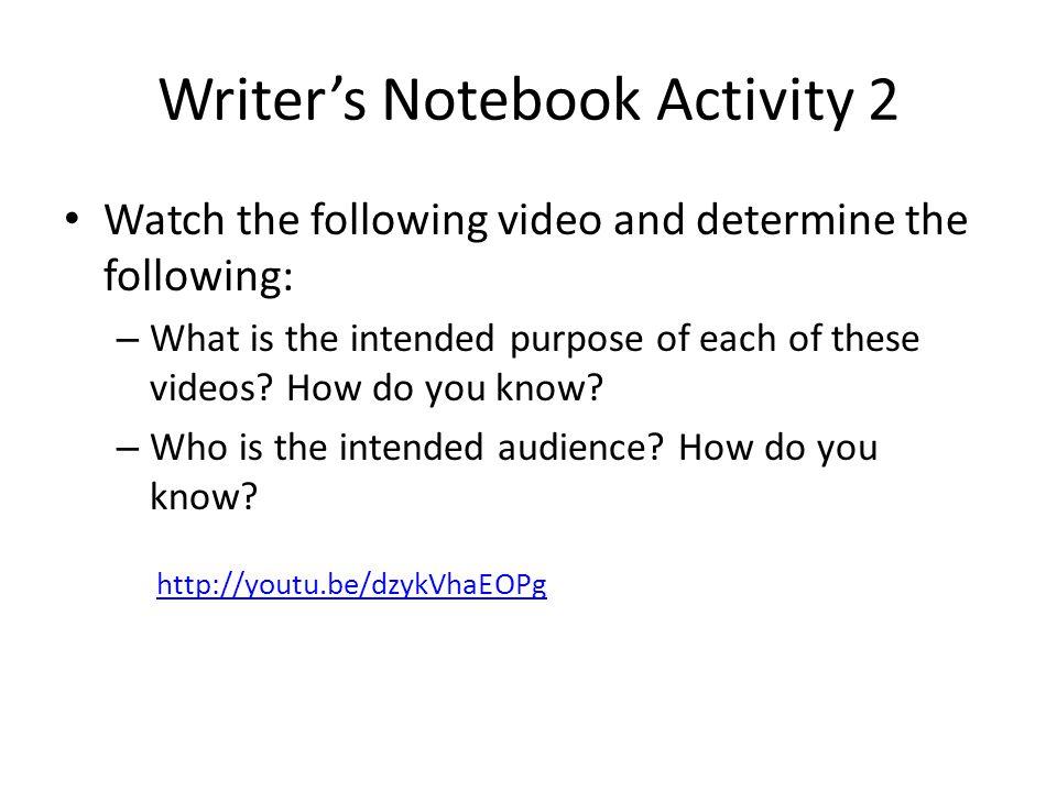 Writer's Notebook Activity 2
