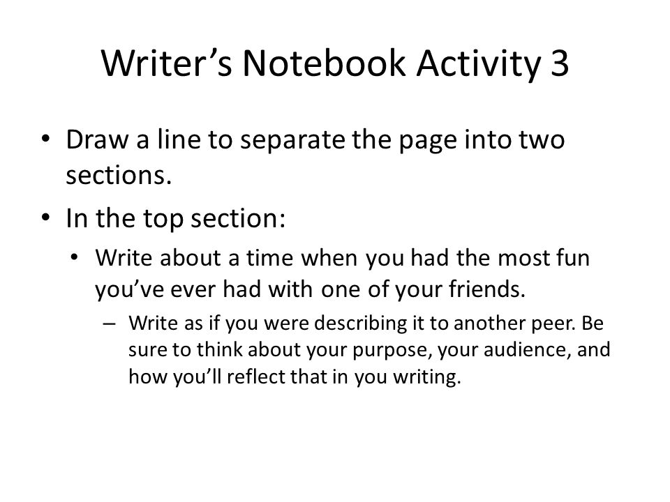 Writer's Notebook Activity 3