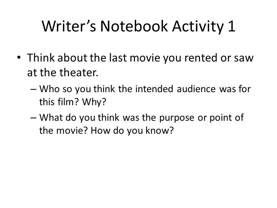 Writer's Notebook Activity 1