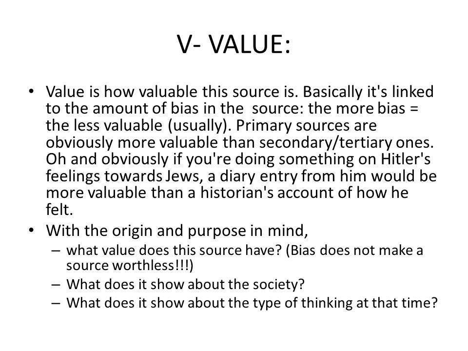 V- VALUE: